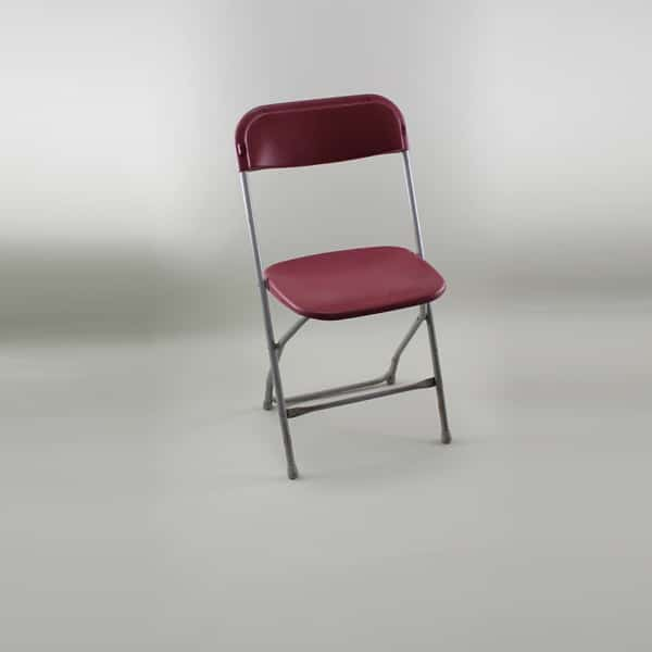 Folding Chair - Standard, Plastic, Burgundy