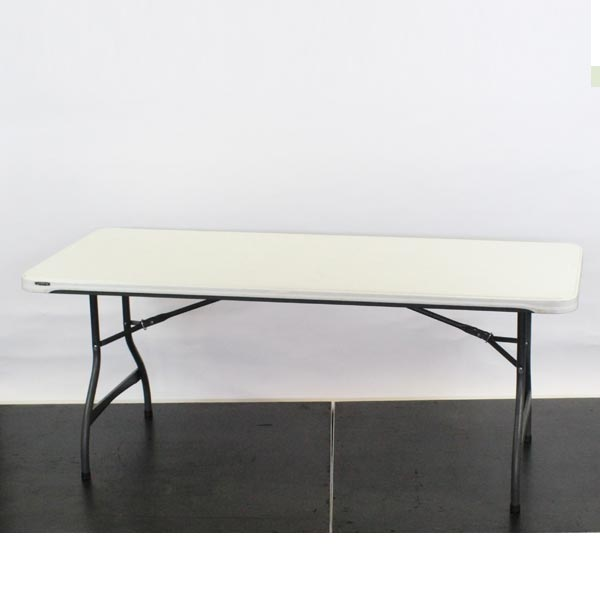 "Plastic ""Lifetime"" Trestle Table, 6'x2'6"" - L72""xW30""xH29"" (182x76x73cm)"