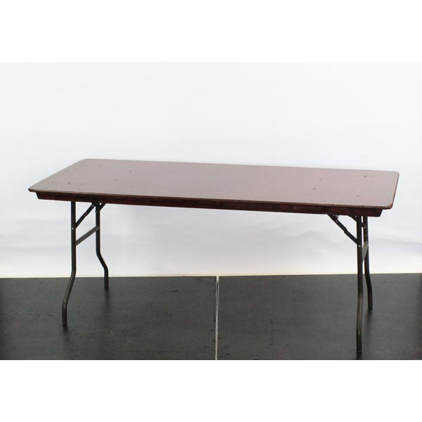 "Wooden Rectangular Trestle Table c/w Bullnose Edge, 6'x2'6"" - L72""xW30""xH30"" (182x76x76cm)"