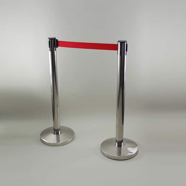 "6"" (1.8m) Barrier Post - Chrome C/W Extendable Red Cartridge"