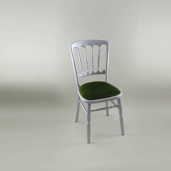 Bentwood Chair - Silver Frame with Green Seat Pad - 1003 & 1005B