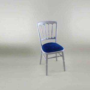 Bentwood Chair - Silver Frame with Blue Seat Pad - 1003 & 1005N