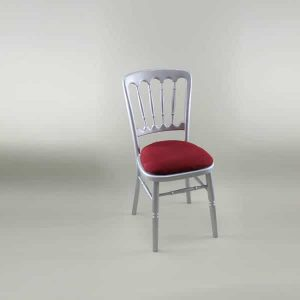Bentwood Chair - Silver Frame with Burgundy Seat Pad Cover (Rose Pattern) - 1003 & 1006