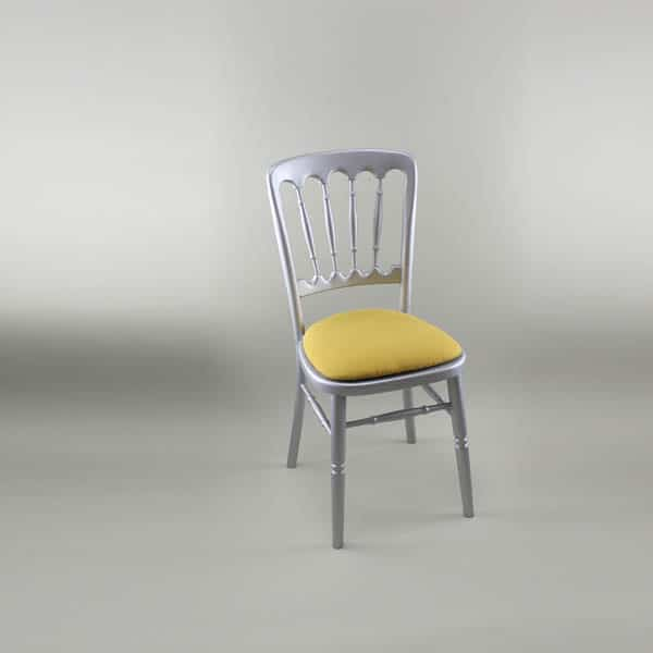 Bentwood Chair - Silver Frame with Gold Seat Pad Cover (Rose Pattern) - 1003 & 1006A
