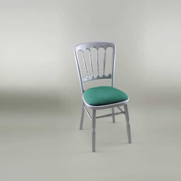 Bentwood Chair - Silver Frame with Forest Green Seat Pad Cover (Rose Pattern) - 1003 & 1006B