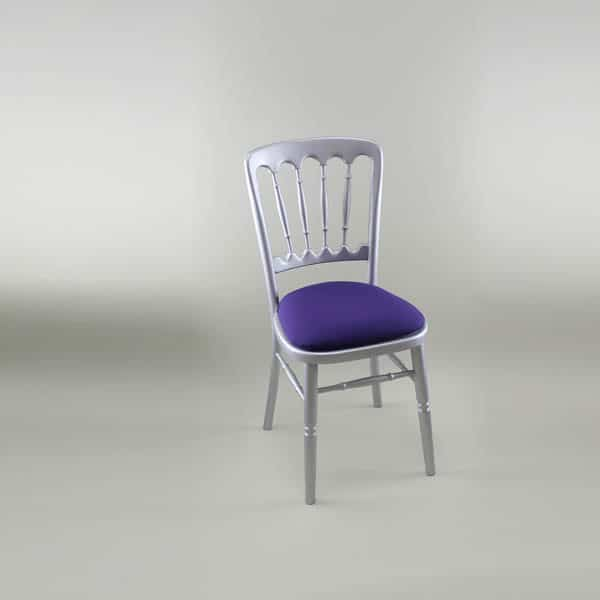 Bentwood Chair - Silver Frame with Purple Seat Pad Cover (Rose) - 1003 & 1006F