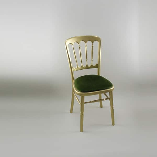 Bentwood Chair - Gold Frame with Green Seat Pad - 1004 & 1005B