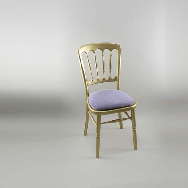 Bentwood Chair - Gold Frame with Lilac Seat Pad - 1004 & 1005E