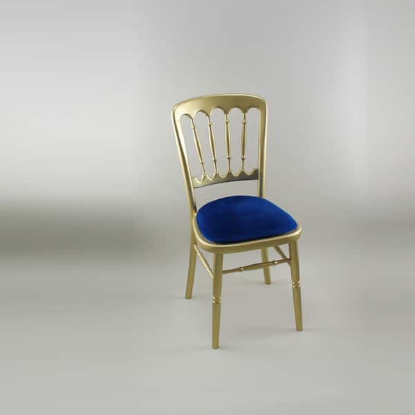 Bentwood Chair - Gold Frame with Royal Blue Seat Pad - 1004 & 1005N