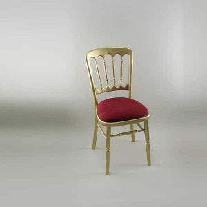 Bentwood Chair - Gold Frame with Burgundy Seat Pad Cover (Rose Pattern) - 1004 & 1006