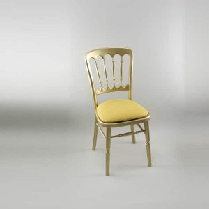 Bentwood Chair - Gold Frame with Gold Seat Pad Cover (Rose Pattern) - 1004 & 1006A