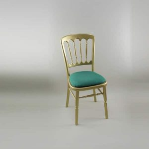 Bentwood Chair - Gold Frame with Forest Green Seat Pad Cover (Rose Pattern) - 1004 & 1006B