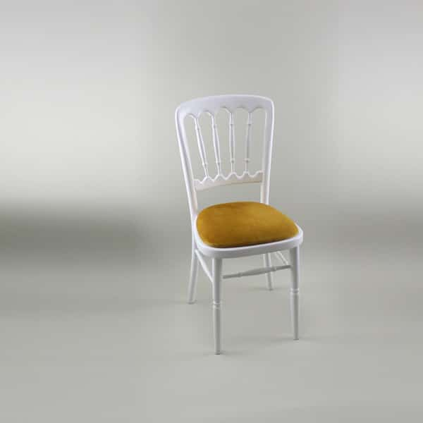 Bentwood Chair - White Frame with Gold Seat Pad - 1004A & 1005C