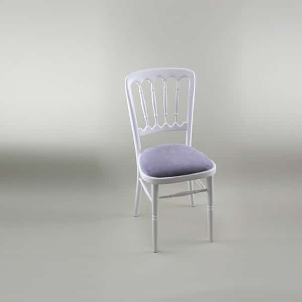 Bentwood Chair - White Frame with Lilac Seat Pad - 1004A & 1005E