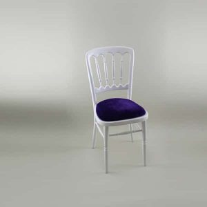 Bentwood Chair - White Frame with Purple Seat Pad  - 1004A &1005F