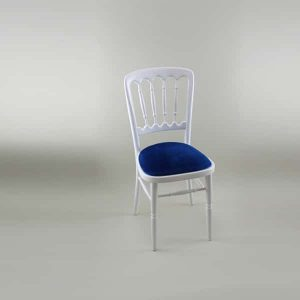 Bentwood Chair - White Frame with Blue Seat Pad - 1004A & 1005N