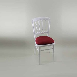 Bentwood Chair - White Frame with Burgundy Seat Pad Cover (Rose Pattern) - 1004A & 1006