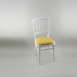 Bentwood Chair - White Frame with Gold Seat Pad Cover (Rose Pattern) - 1004A & 1006A
