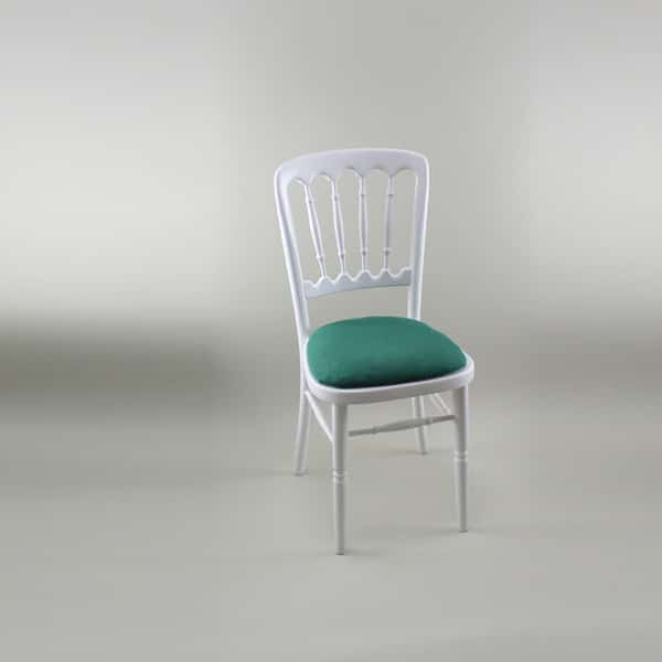 Bentwood Chair - White Frame with Forest Green Seat Pad Cover (Rose Pattern) - 1004A & 1006B