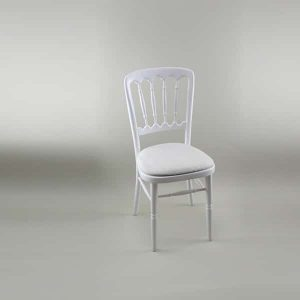 Bentwood Chair - White Frame with Ivory Seat Pad Cover (Rose Pattern) - 1004A & 1006DR