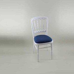 Bentwood Chair - White Frame with Navy Seat Pad Cover (Plain) - 1004A & 1006E