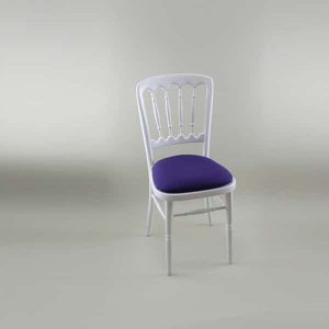 Bentwood Chair - White Frame with Purple Seat Pad Cover (Rose) - 1004A & 1006F