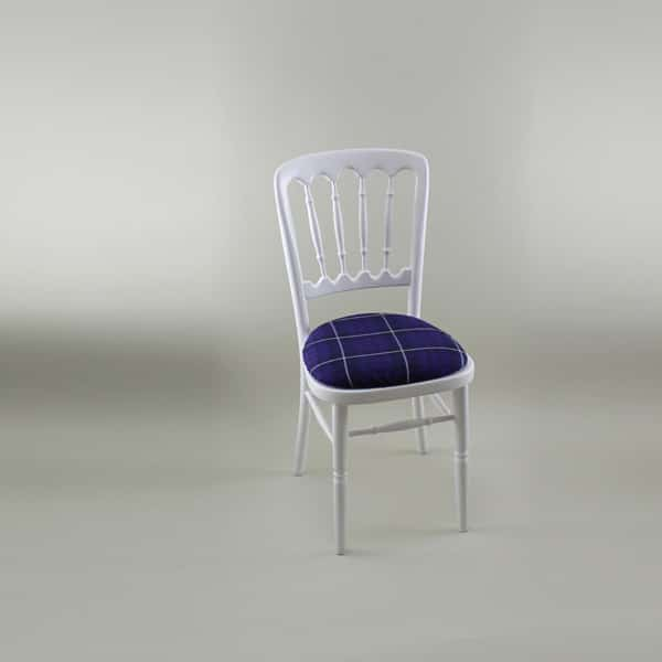 Bentwood Chair - White Frame with Tartan Seat Pad Cover - 1004A & 1006T