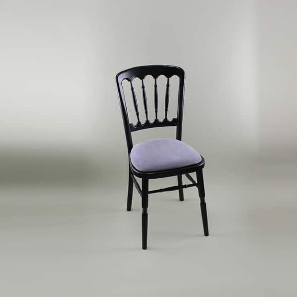 Bentwood Chair - Black Frame with Lilac Seat Pad - 1004B & 1005E