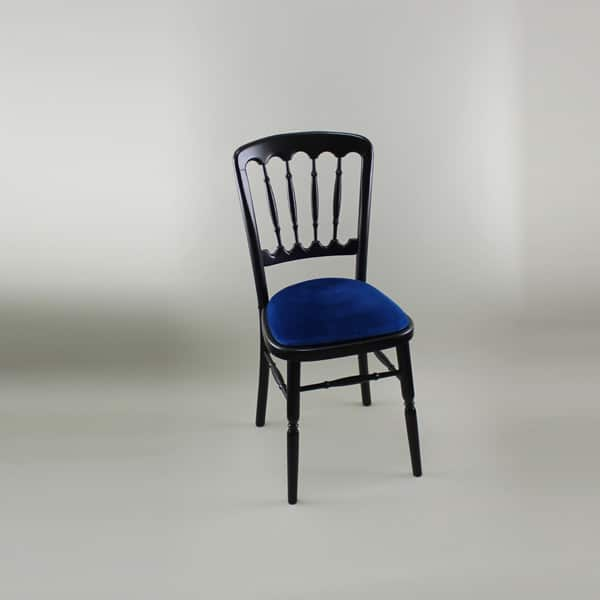 Bentwood Chair - Black Frame with Blue Seat Pad - 1004B & 1005N