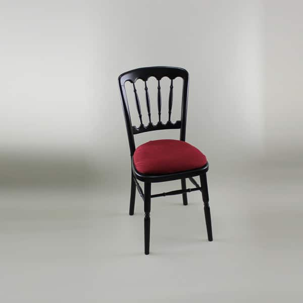 Bentwood Chair - Black Frame with Burgundy Seat Pad Cover (Rose Pattern) - 1004B & 1006