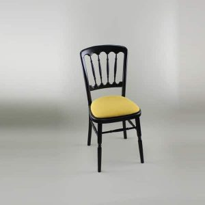 Bentwood Chair - Black Frame with Gold Seat Pad Cover (Rose Pattern) - 1004B & 1006A