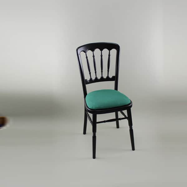 Bentwood Chair - Black Frame with Forest Green Seat Pad Cover (Rose Pattern) - 1004B & 1006B