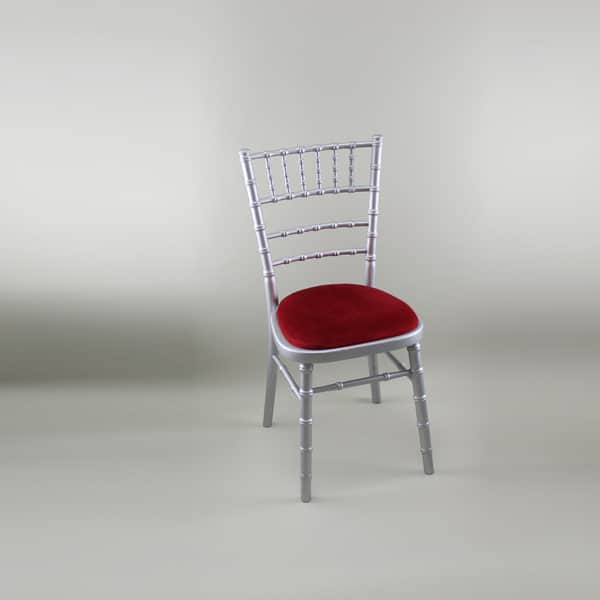Chiavari Chair - Silver Frame with Red Seat Pad - 1009 & 1005A