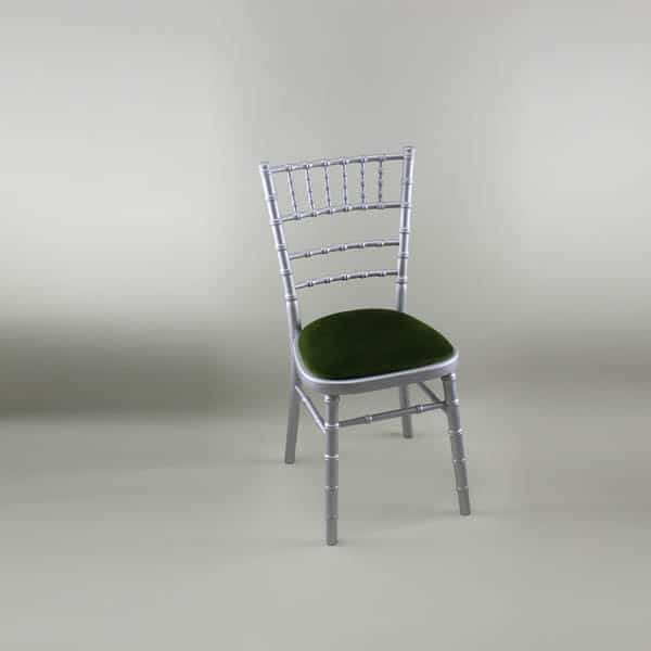 Chiavari Chair - Silver Frame with Green Seat Pad - 1009 & 1005B