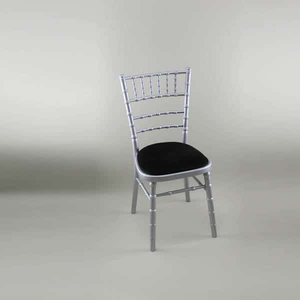Chiavari Chair - Silver Frame with Black Seat Pad - 1009 & 1005D