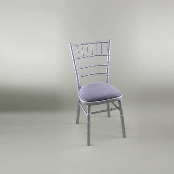 Chiavari Chair - Silver Frame with Lilac Seat Pad - 1009 & 1005E