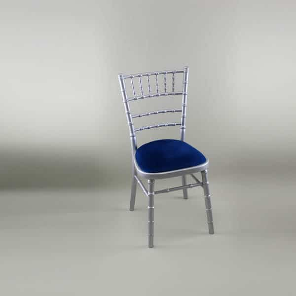 Chiavari Chair - Silver Frame with Blue Seat Pad - 1009 & 1005N