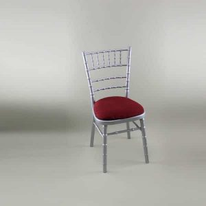 Chiavari Chair - Silver Frame with Burgundy Seat Pad Cover (Rose Pattern) - 1009 & 1006