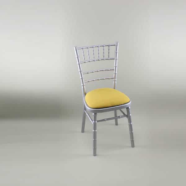 Chiavari Chair - Silver Frame with Gold Seat Pad Cover (Rose Pattern) - 1009 & 1006A