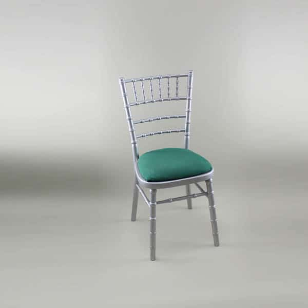 Chiavari Chair - Silver Frame with Forest Green Seat Pad Cover (Rose Pattern) - 1009 & 1006B