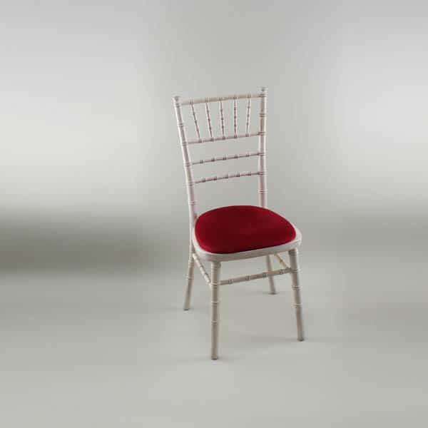 Chiavari Chair - Limewash Frame with Red Seat Pad - 1009A & 1005A