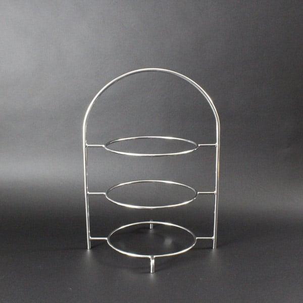 "3 Tier Cake Stand 15.5"" (40cm) x 7 3/4"" (19.5cm) Diameter Rings, Stainless Steel - 3012SSA"