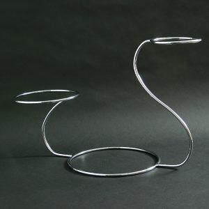 """3 Tier - Swan Wedding Cake Stand 16""""x6""""x9""""x12"""" (41x15x23x30cm), Stainless Steel - 3195E"""