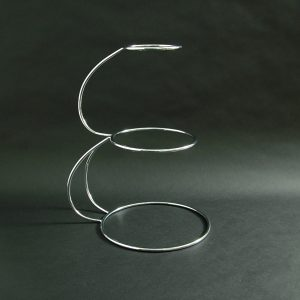 """3 Tier - """"E"""" Shaped Wedding Cake Stand 19.5""""x6""""x9""""x12"""" (50x15x23x30cm), Stainless Steel - 3195F"""