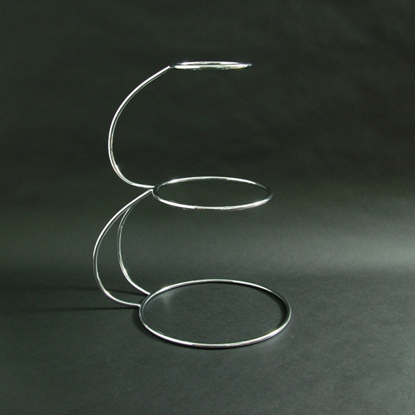 "3 Tier - ""E"" Shaped Wedding Cake Stand 19.5""x6""x9""x12"" (50x15x23x30cm), Stainless Steel - 3195F"